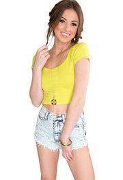 Tops - Lucy Basic Crop Top - Lime Green