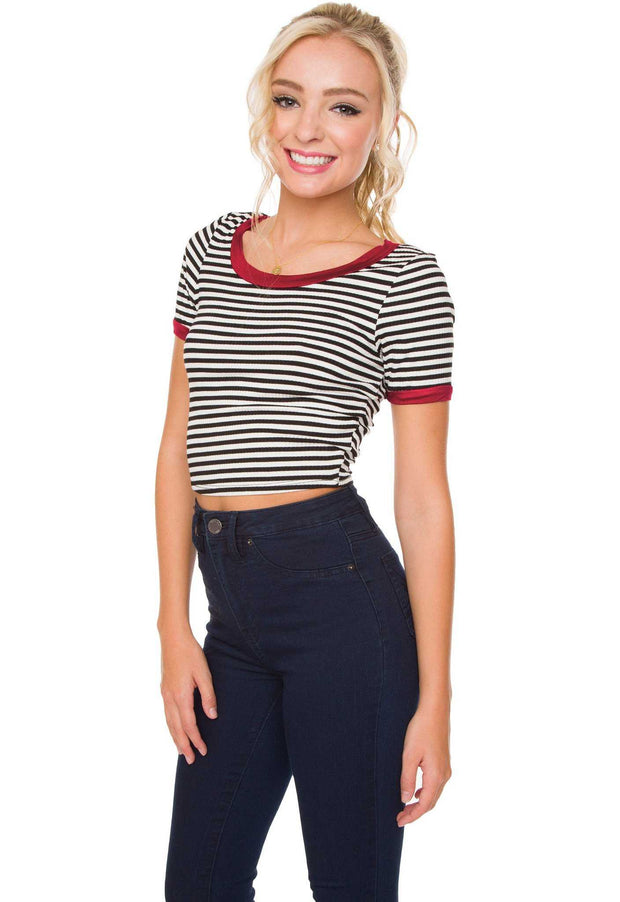 Tops - Lydia Striped Crop Top - Red
