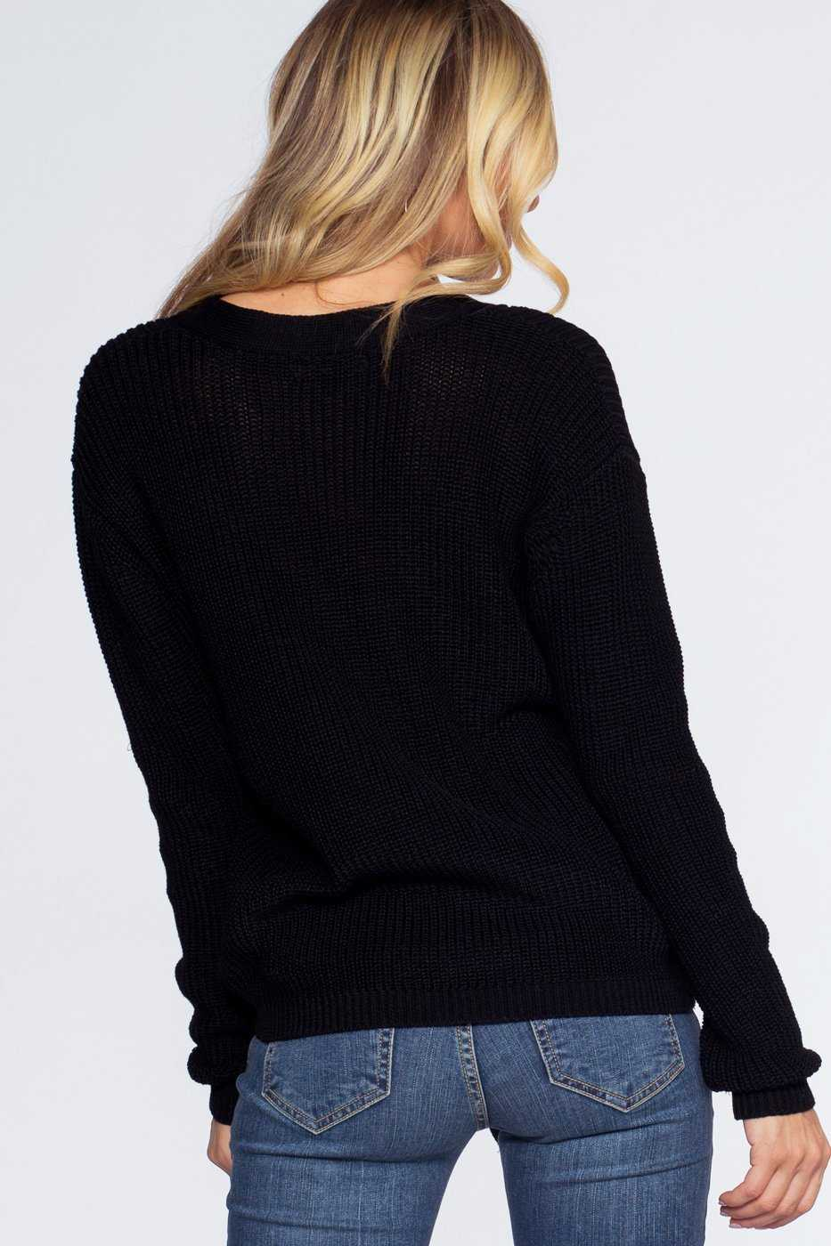 Tops - Lyla Lace Up Sweater - Black