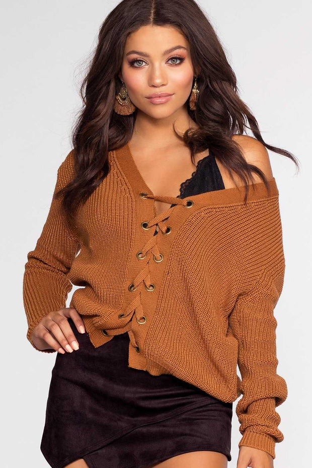 Tops - Lyla Lace Up Sweater - Camel