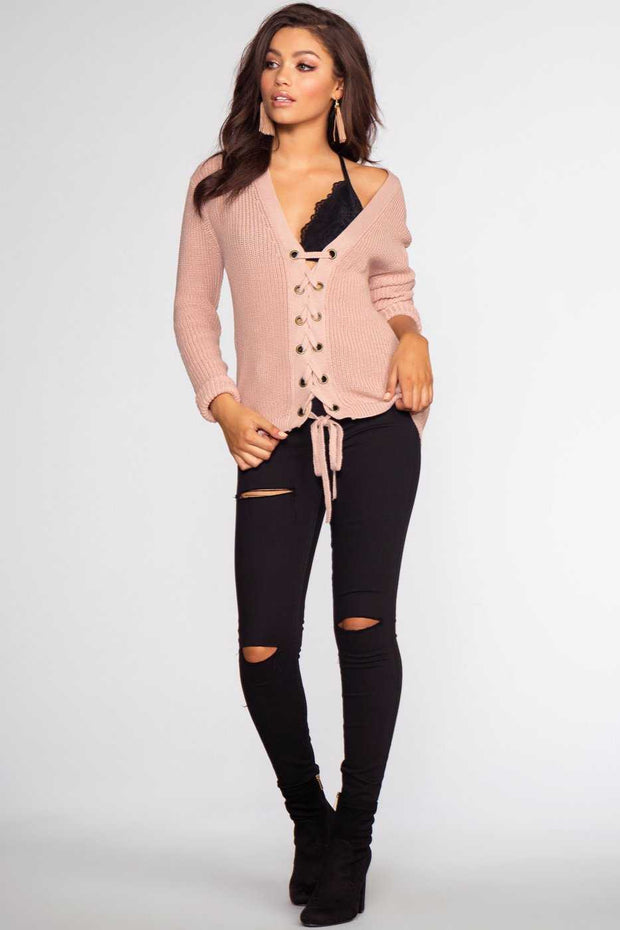 Tops - Lyla Lace Up Sweater - Light Mauve