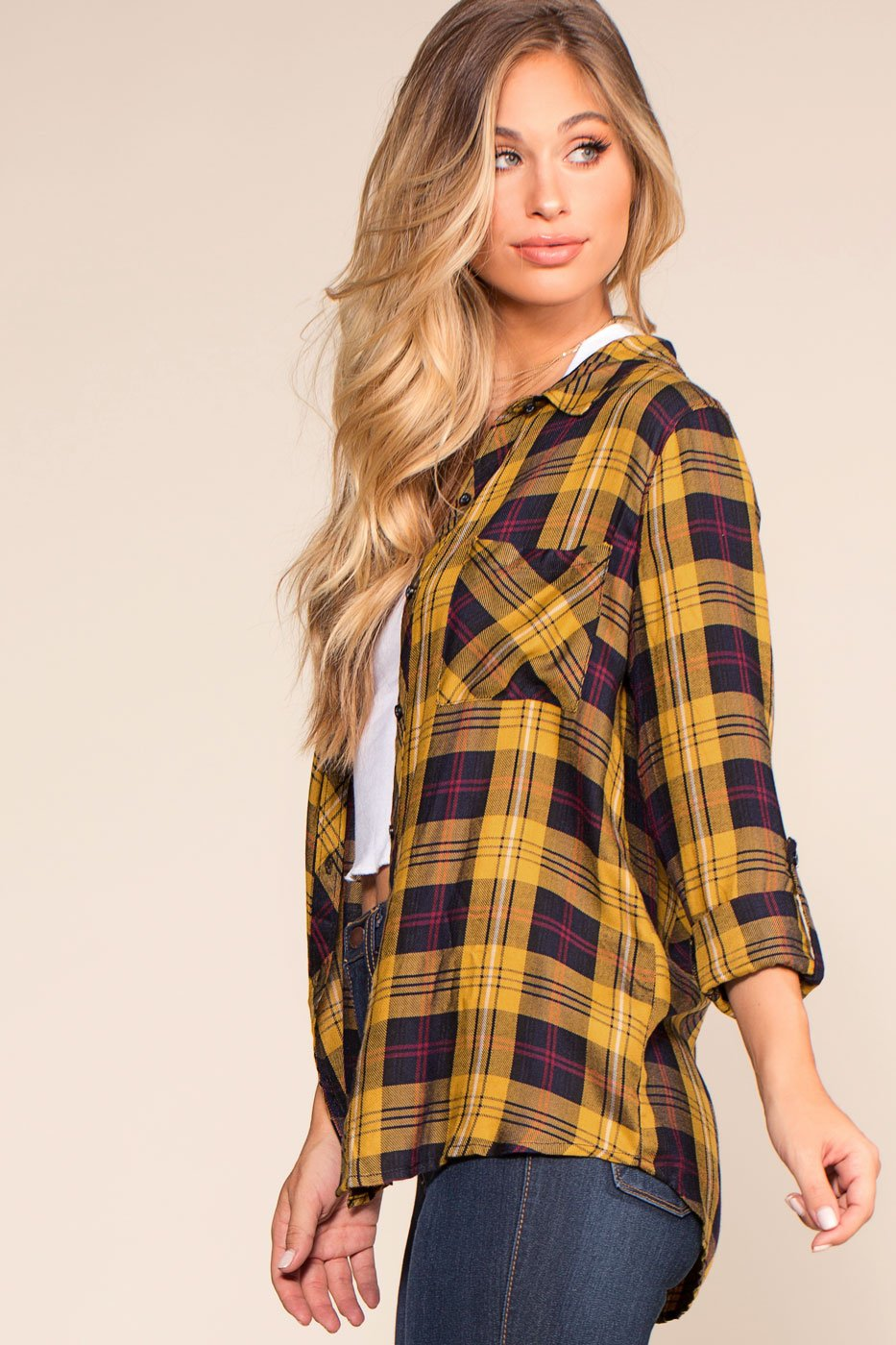 Tops - Madigan Plaid Button Up Shirt - Mustard