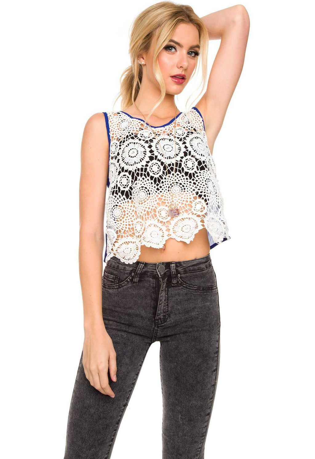 Tops - Maryland Lace Crop Top - Blue