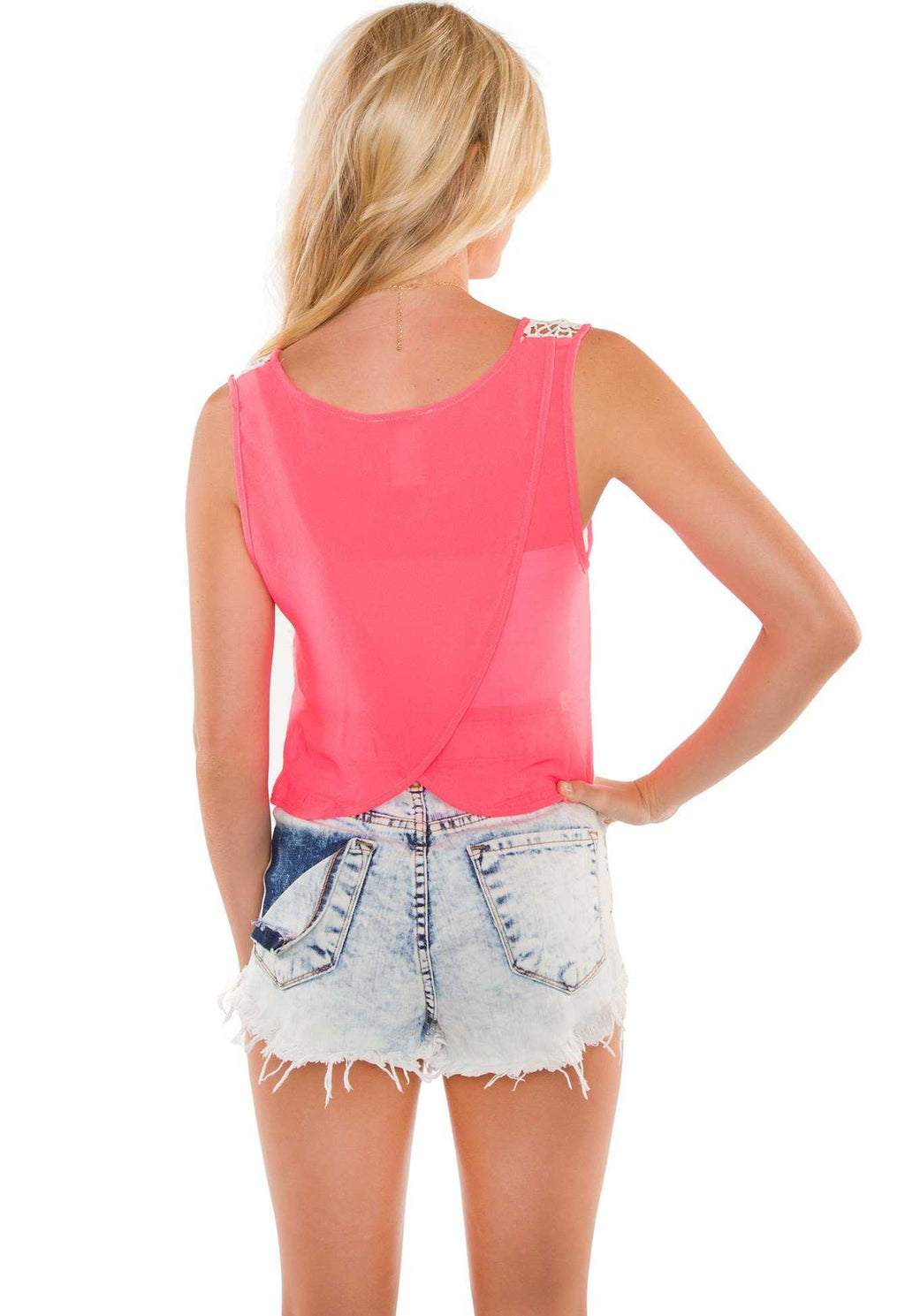 Tops - Maryland Lace Crop Top - Neon Pink