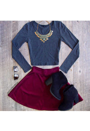 Tops - Mei Long Sleeve Crop Top - Grey