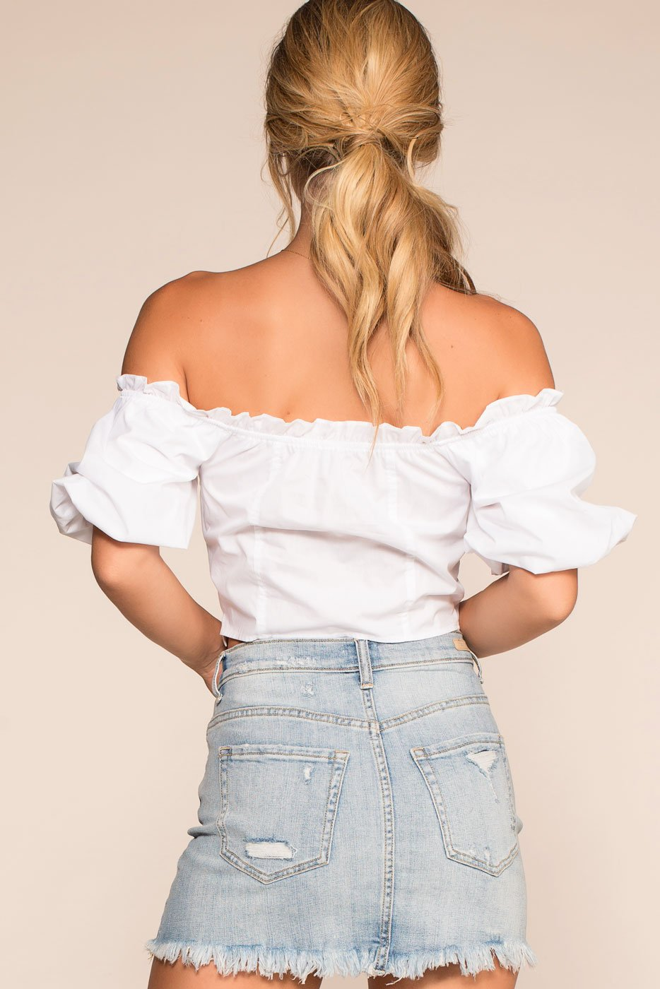 Tops - Mia Off The Shoulder Crop Top - White