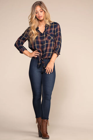 Tops - Mia Plaid Button Up Front Tie Top - Navy