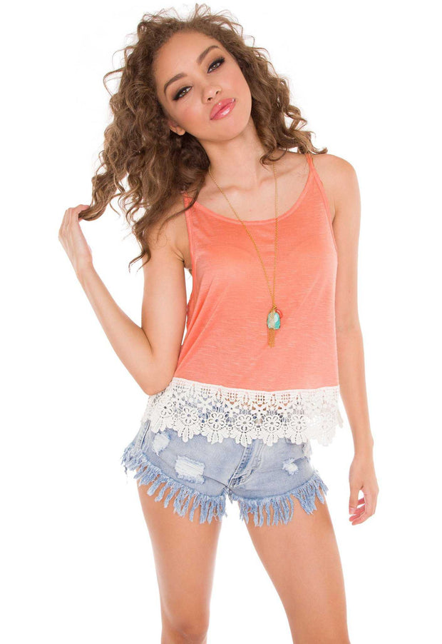 Tops - Natalie Lace Top - Peach