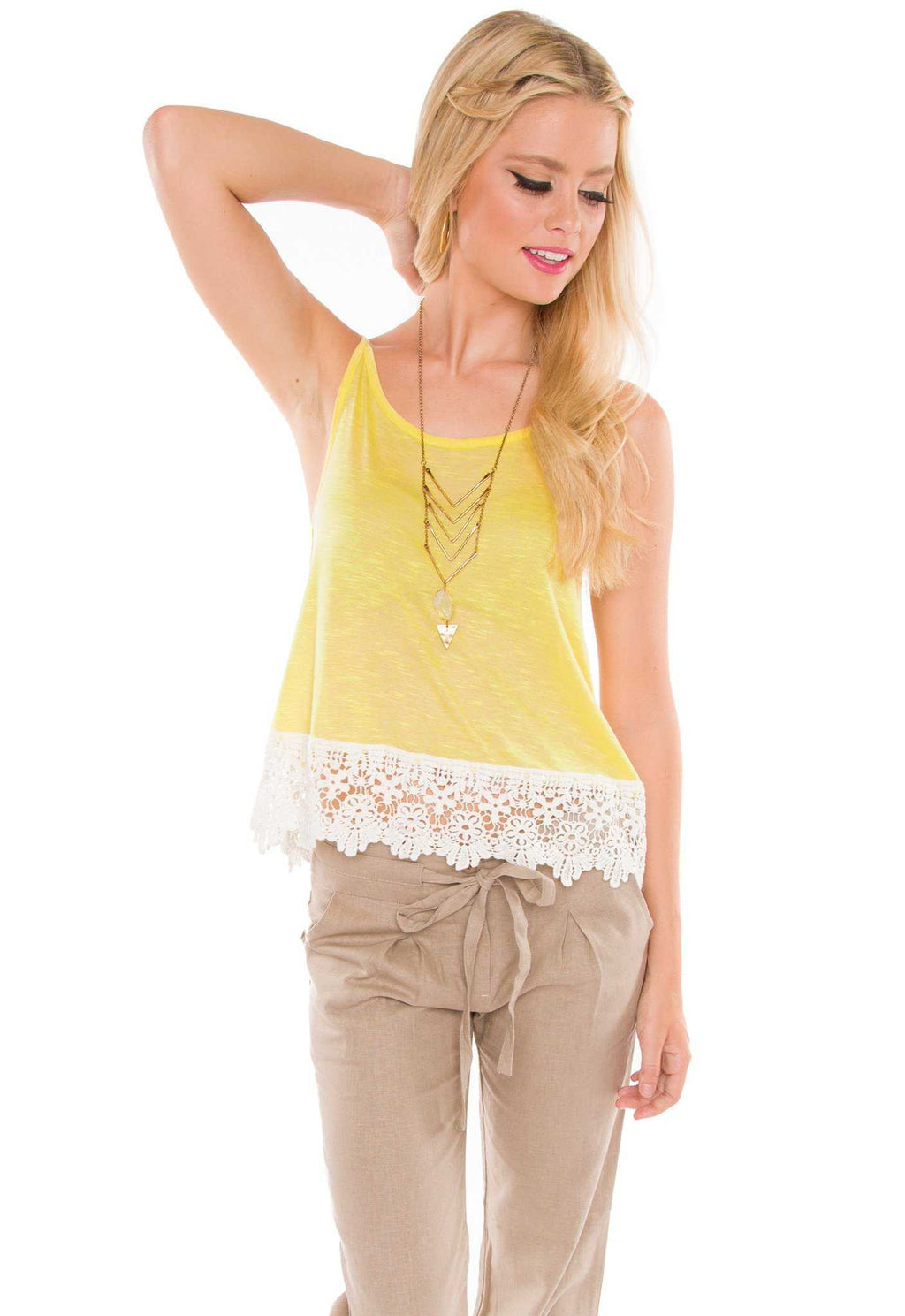 Tops - Natalie Lace Top - Yellow