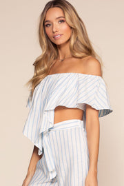Tops - On My Way To Rio Off The Shoulder Stripe Crop Top - Blue