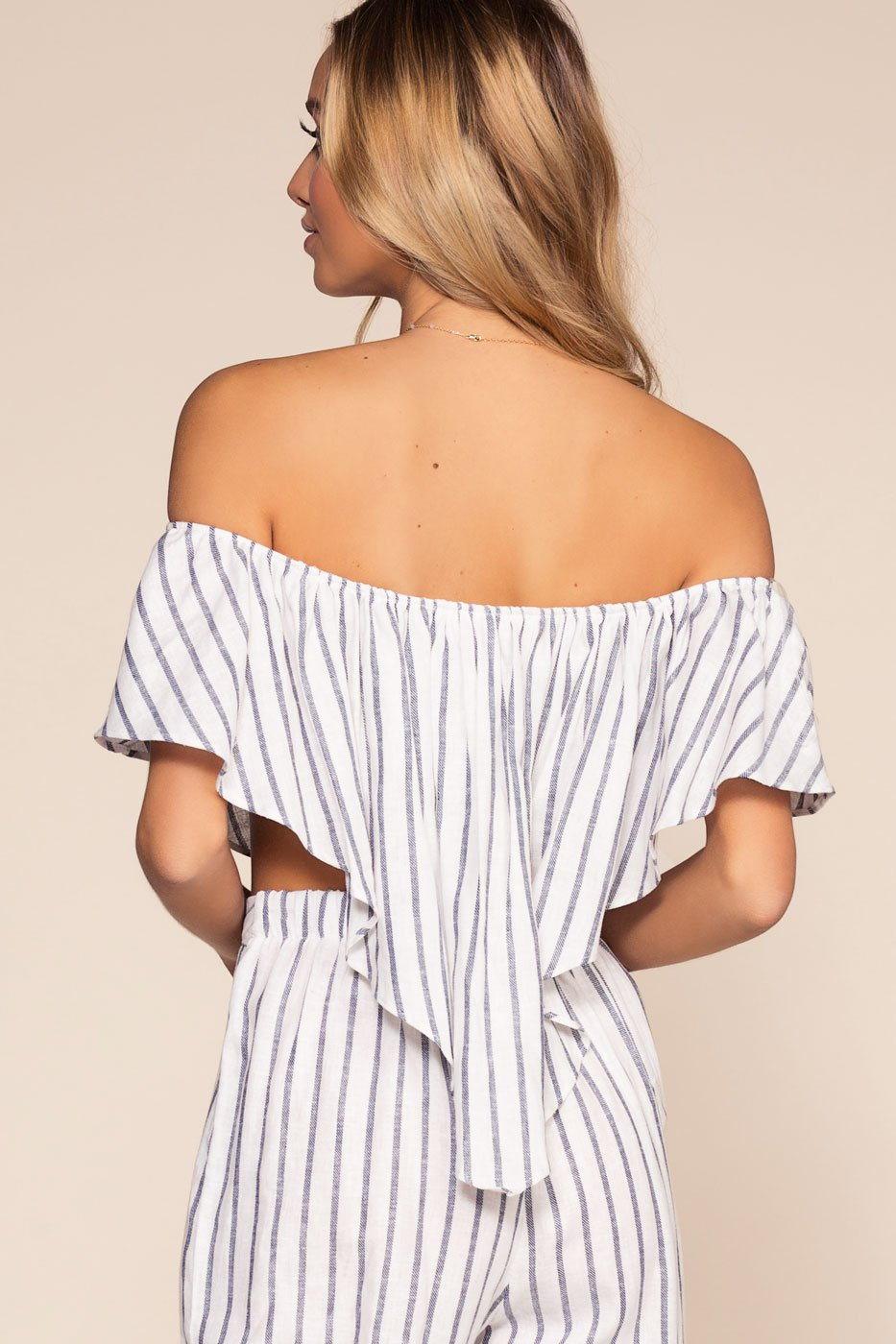 Tops - On My Way To Rio Off The Shoulder Stripe Crop Top - Navy