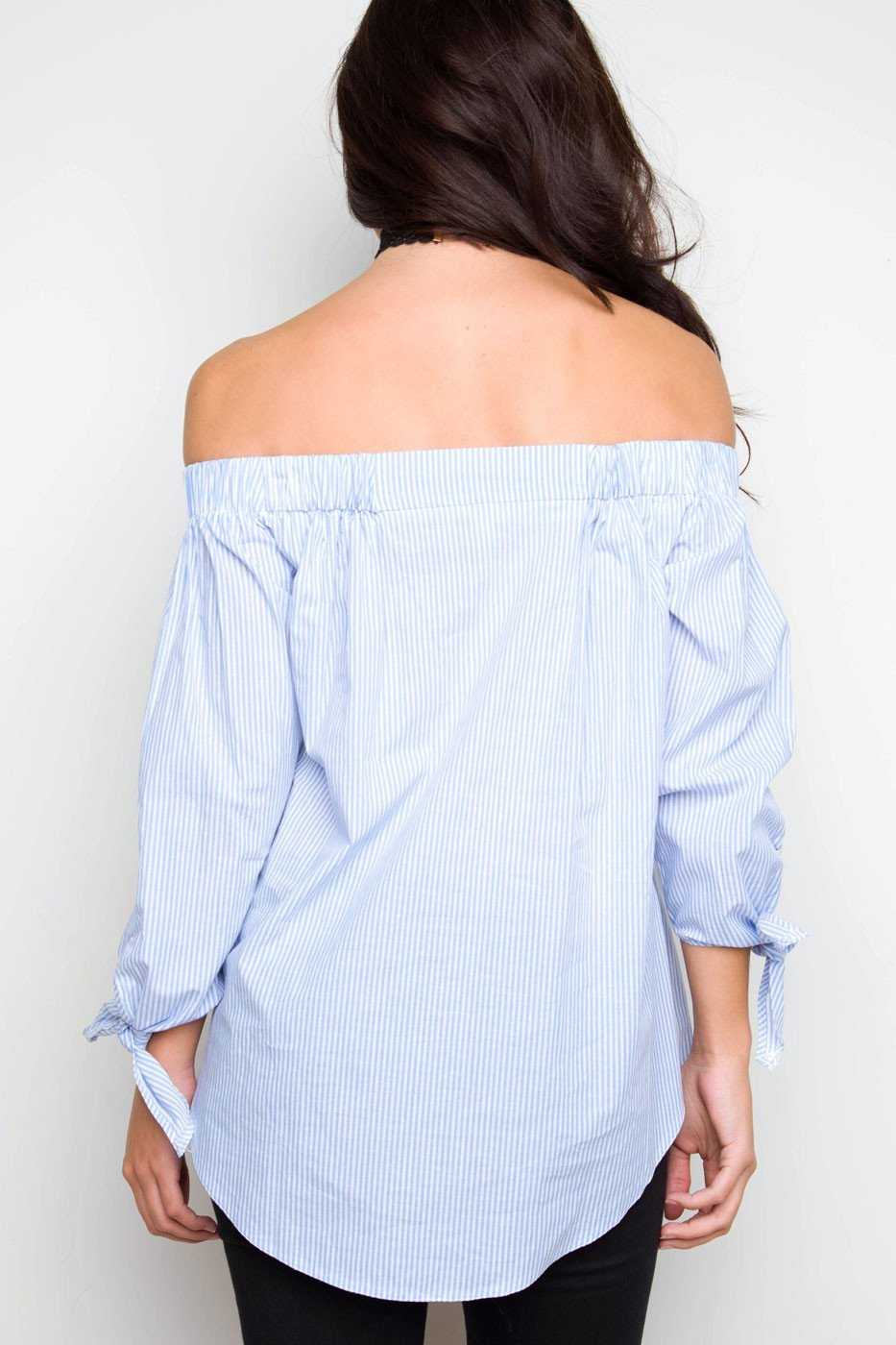 Tops - On Vacation Off The Shoulder Top - Light Blue