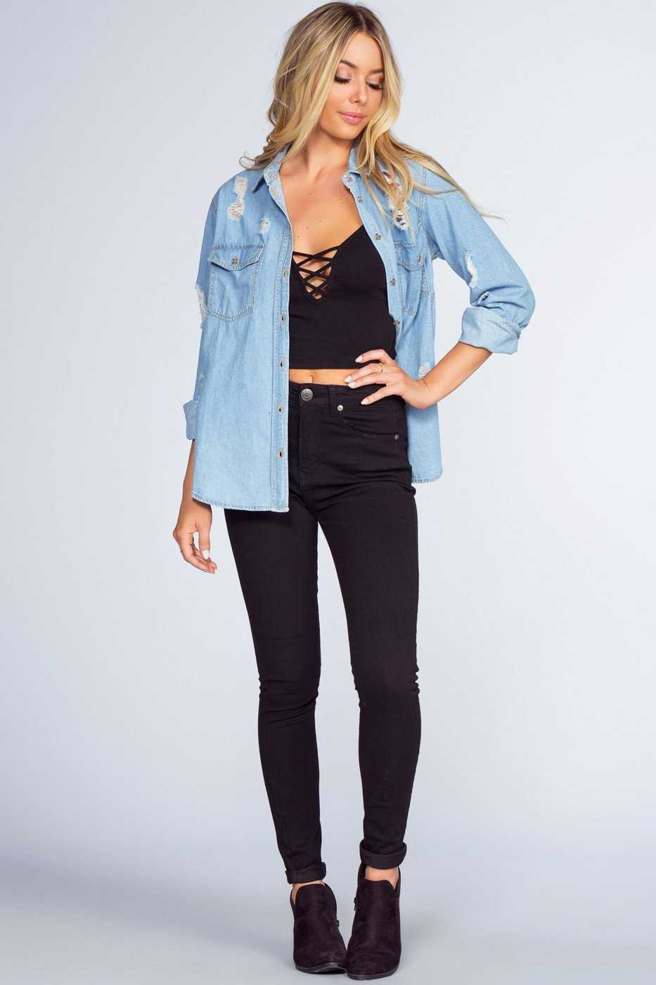 Tops - Once In A Blue Denim Top