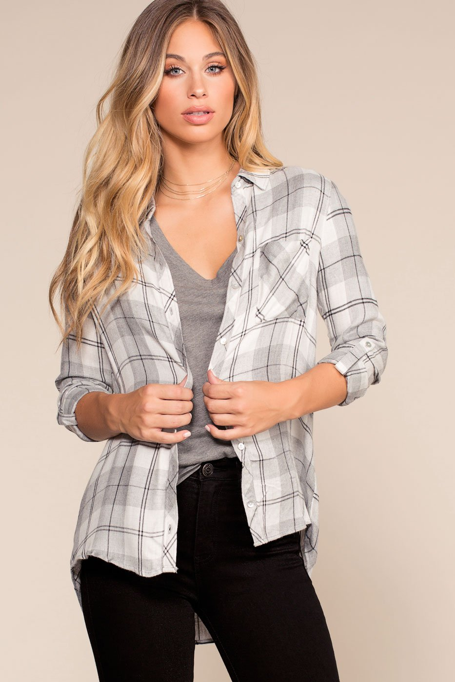 Tops - One Way Plaid Flannel Shirt - Gray