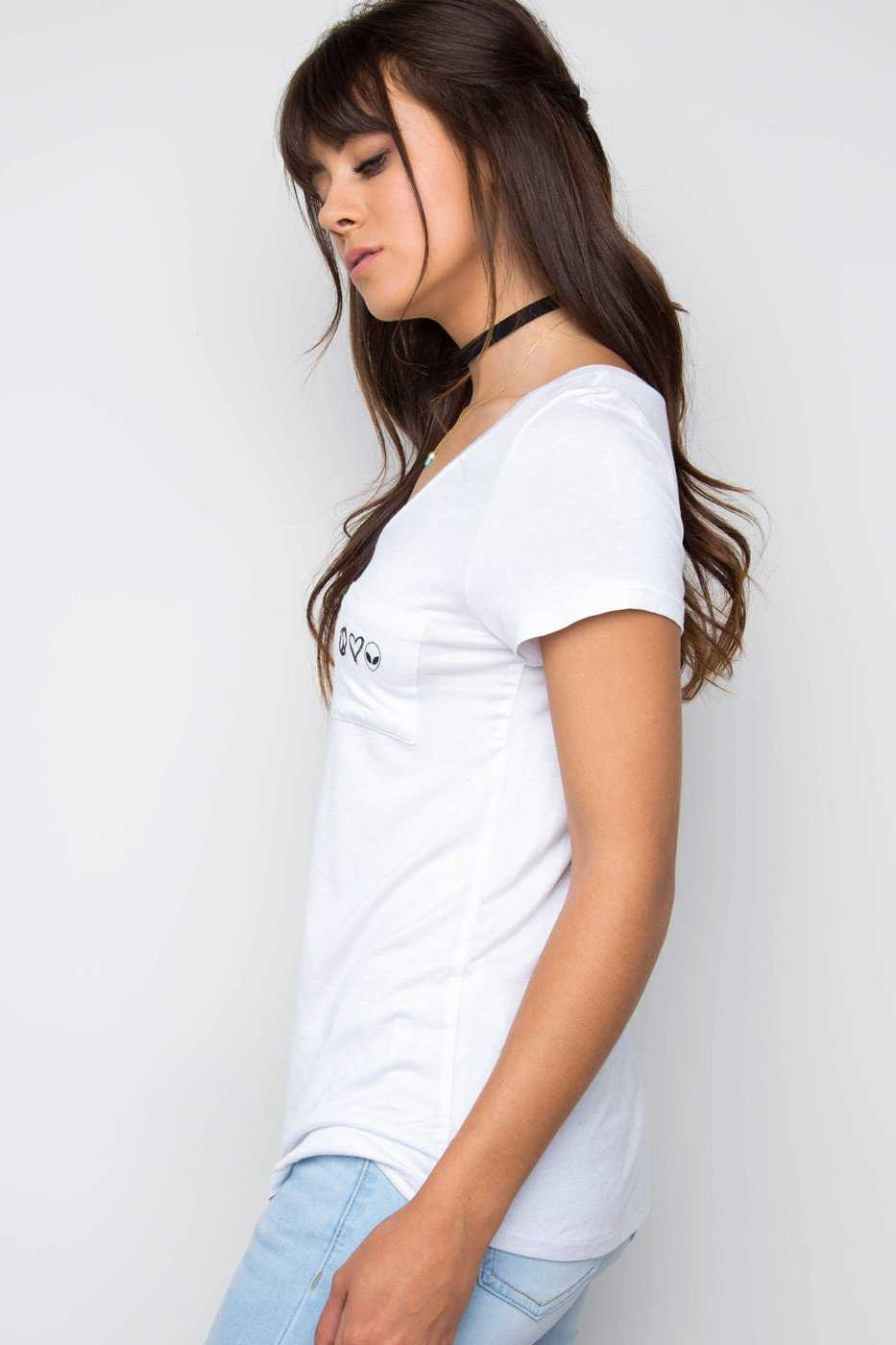 Tops - Peace, Love & Aliens Pocket Tee