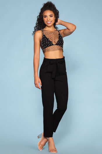Pearl Black Mesh Crop Top
