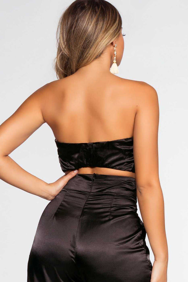 Tops - Pop The Bubbly Satin Crop Top - Black