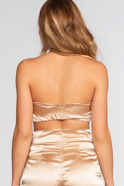 c3961b51752479 Pop The Bubbly Satin Crop Top - Champagne