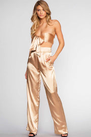 Tops - Pop The Bubbly Satin Crop Top - Champagne