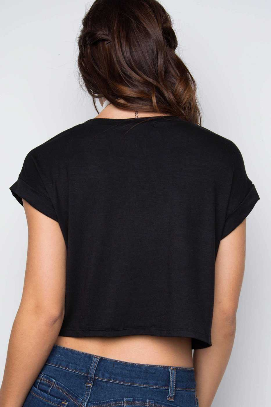 Tops - Positive Vibes Only Crop Top - Black