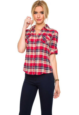 Hit Refresh Red Plaid Top