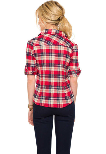 Tops - Pretty In Plaid Top - Red
