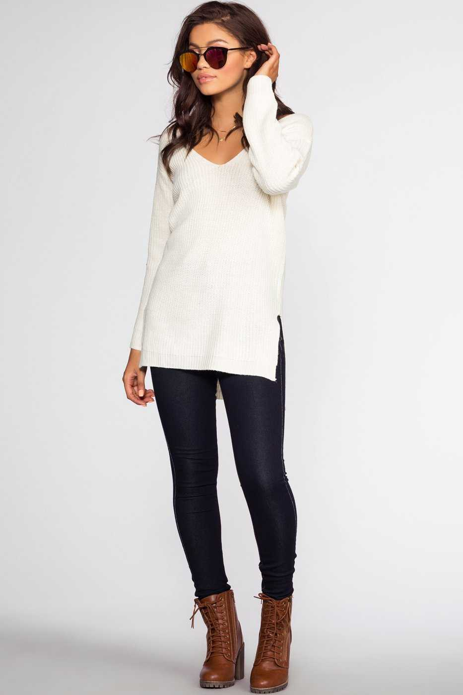 Tops - Priestley Lace Back Sweater - Ivory
