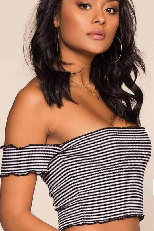 Reese Off The Shoulder Top - Black Stripe | Debut