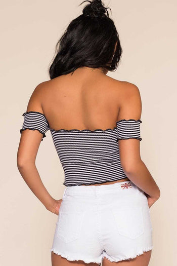 Tops - Reese Off The Shoulder Top - Black Stripe