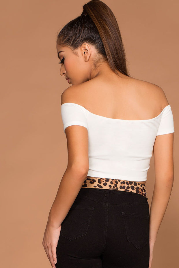Tops - Reina Off The Shoulder White Crop Top