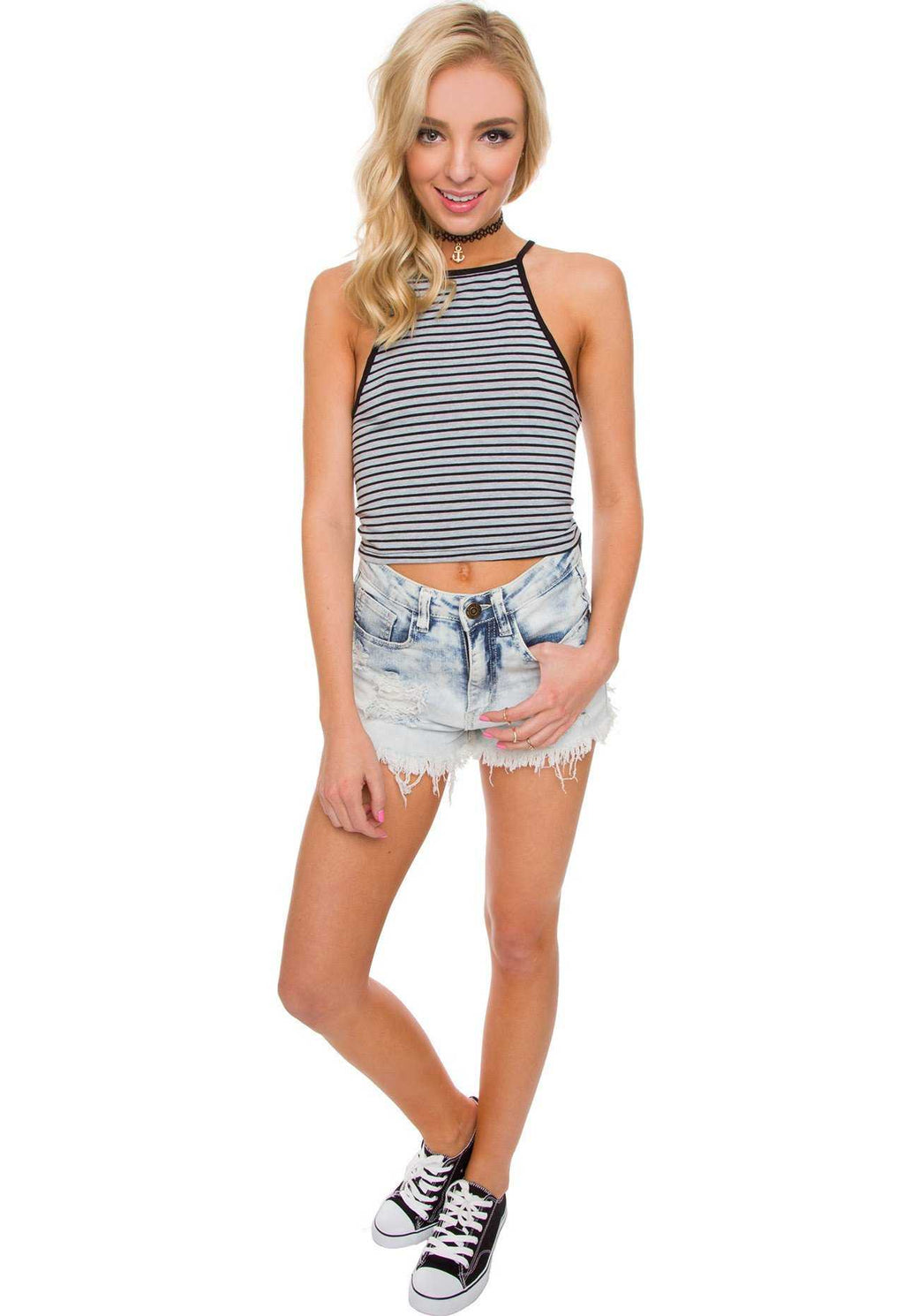Tops - Ryder Stripe Crop Top - Grey