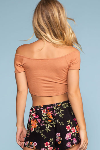Tops - Salty Kisses Off The Shoulder Crop Top - Apricot
