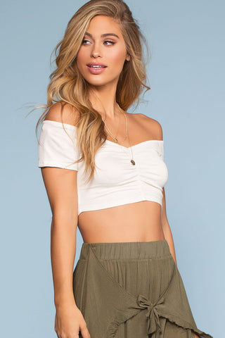Fingers Crossed Crop Top - White