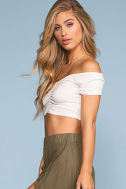 Tops - Salty Kisses Off The Shoulder Crop Top - White