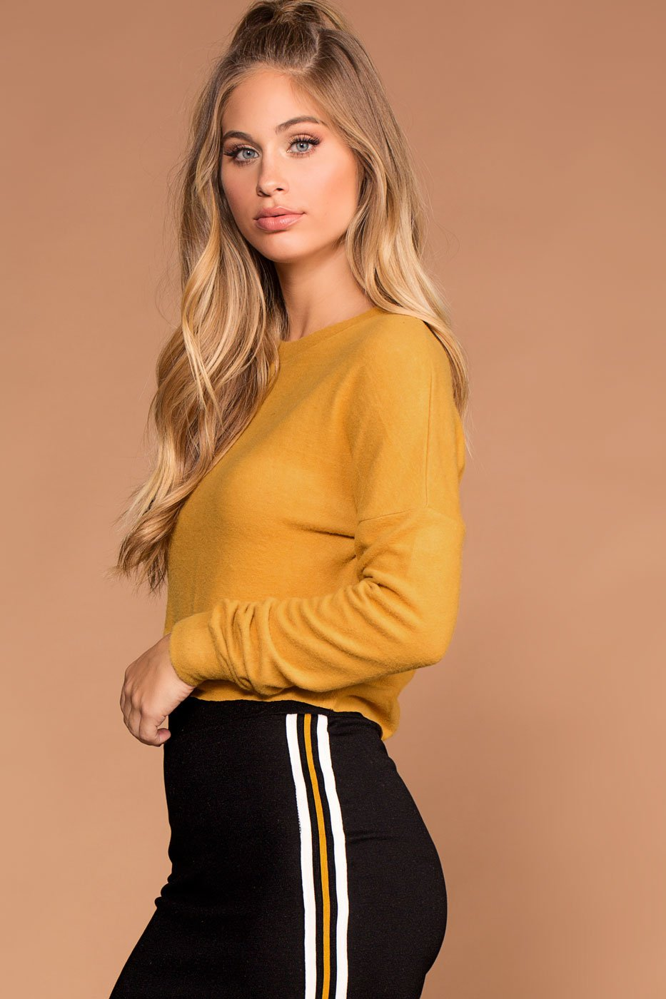 Tops - Sammi Mustard Knit Crop Sweater