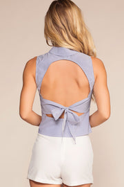 Tops - Sand Dollar Stripe Button-Up Open Back Top