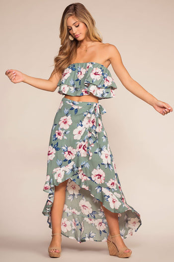 Tops - Sea Breeze Floral Off The Shoulder Crop Top