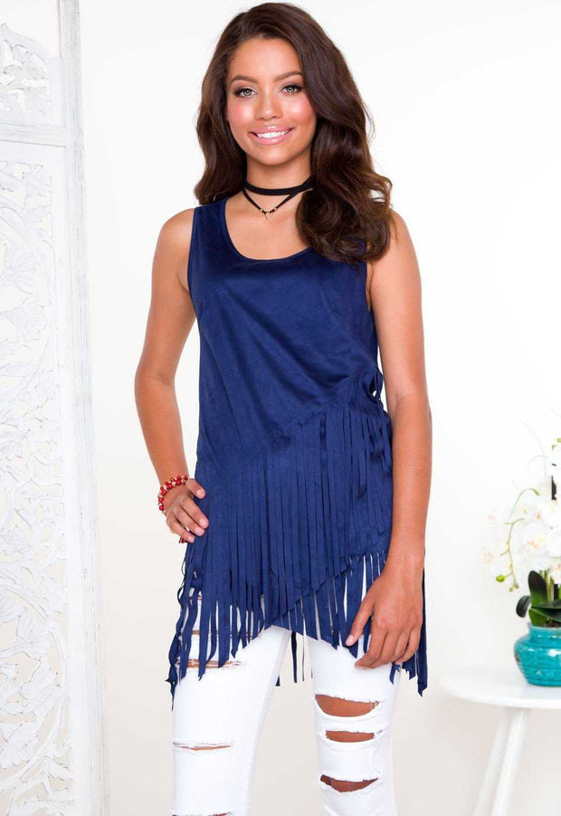 Tops - Sequoia Fringe Top - Blue