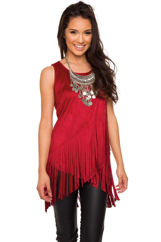 Tops - Sequoia Fringe Top - Burgundy