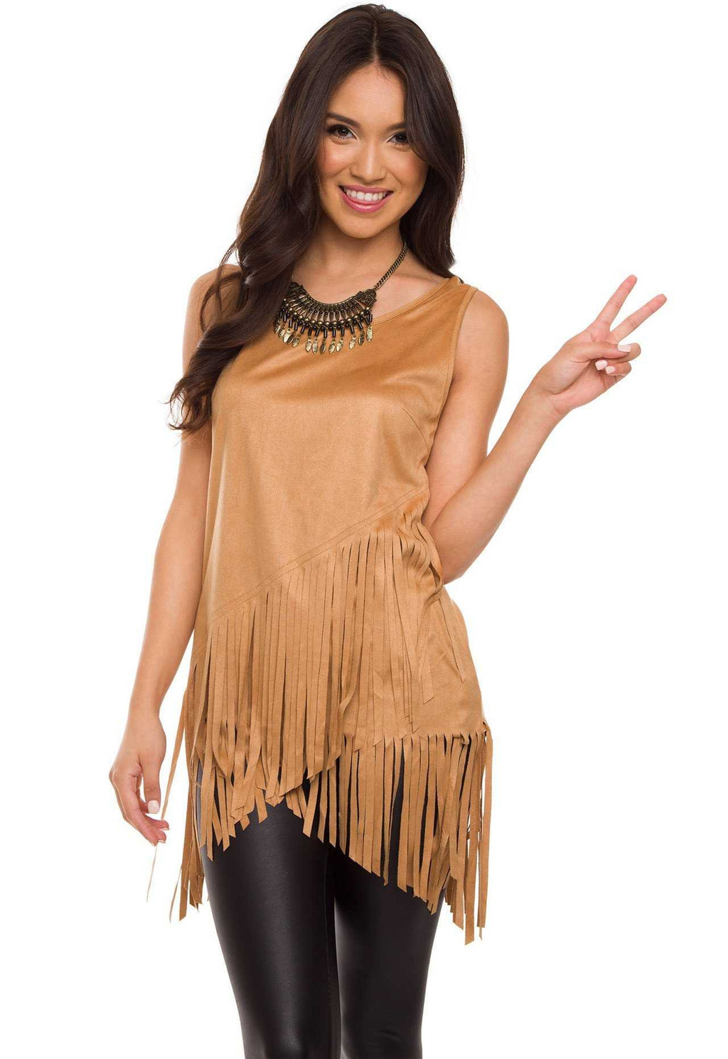 Tops - Sequoia Fringe Top - Camel