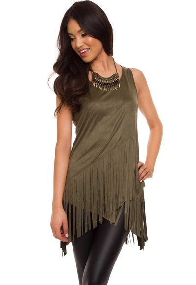 Tops - Sequoia Fringe Top - Olive