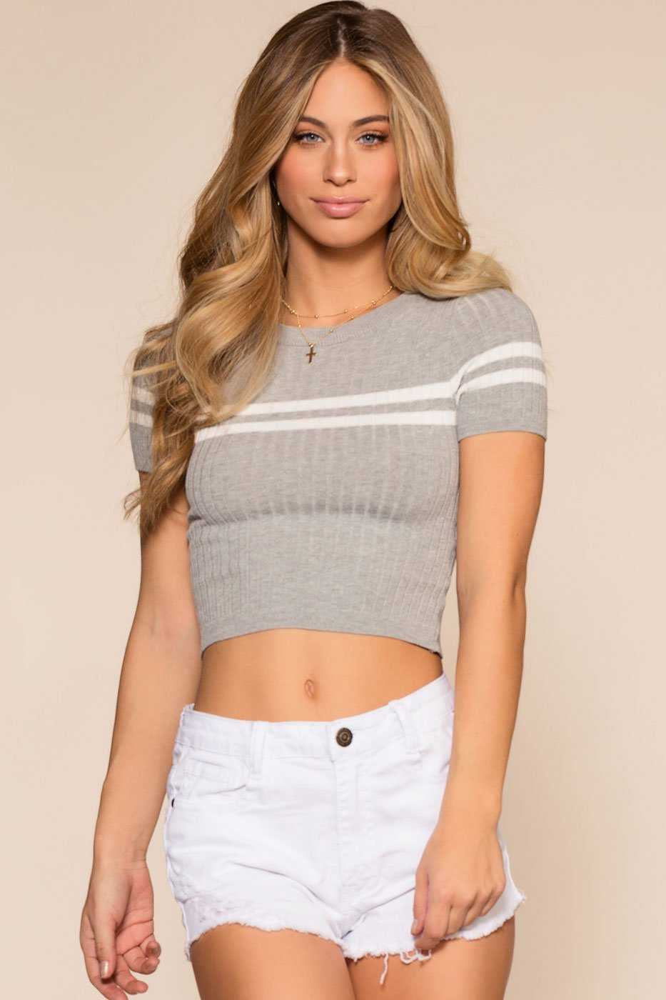 Sheree Knit Crop Top Gray Shop Priceless