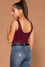 Tops - Sophie Burgundy Ribbed Crop Tank Top