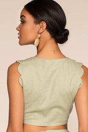 Spring Rain Scalloped Tie Front Crop Top - Sage | Latiste