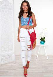 Tops - Stars + Stripes Babe Crop Top