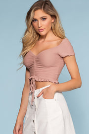 Tops - Summer Wind Ruched Crop Top - Mauve