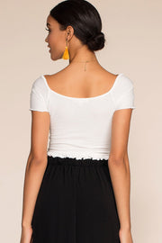 Tops - Summer Wind Ruched Crop Top - White