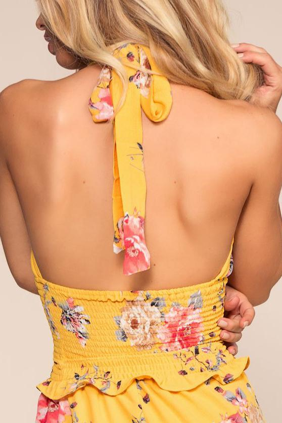 Sunshine Yellow Floral Halter Top | 2Sable