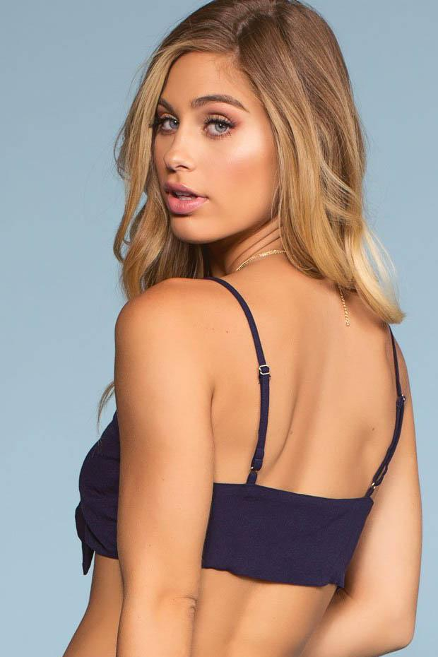 Surf's Up Tie Front Crop Top - Navy