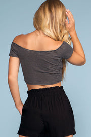 Tops - Sweet Ivy Off The Shoulder Ruched Crop Top - Black